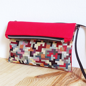 Red tetris Fold Over Bag