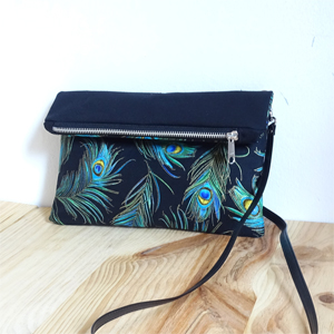 Peacock feather Fold Over Bag