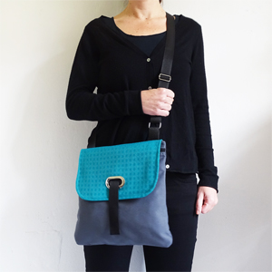 Turquoise green and gray crossbody bag