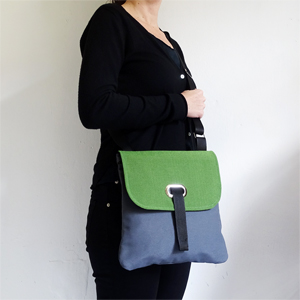 Green & gray crossbody bag