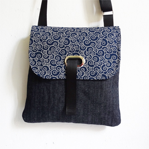 Denim waves crossbody bag