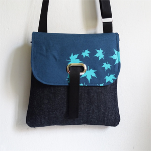 Denim leaves crossbody bag