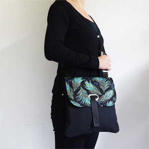 Peacock feather crossbody bag