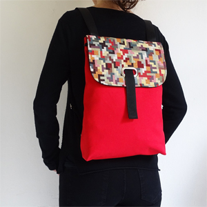 Red tetris backpack