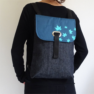 Denim leaves backpack