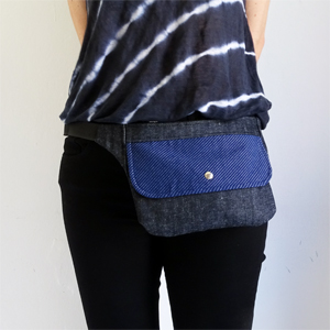 Blue denim hip bag
