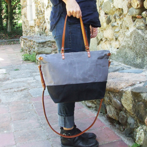 Grey & Black tote bag
